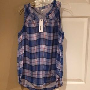 Women's High-low plaid tank